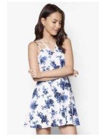 Blue And White China Print Floral Dress