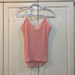 NEW! Pink Strappy Top with Mini Electric Pleats