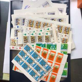 Clearing Balance Singapore Stamps at 10% Below Face Value: Singapore 1979 International Year of Child Set of 4 X 30 Sets and 70 Miniature Sheers and Telephone Set of 4 X 30 Sets, Mint Not Hinged, some toned, can use as postage. Total Face Value $221.