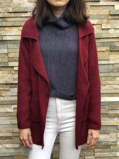 Knit Maroon Cardigan