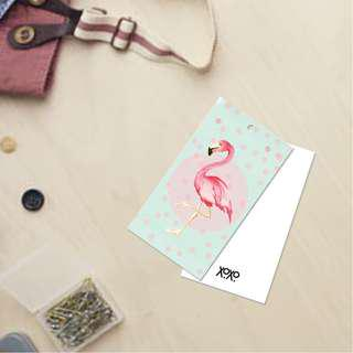 Cute Flamingo Gift Card Tag for Present Wrapping