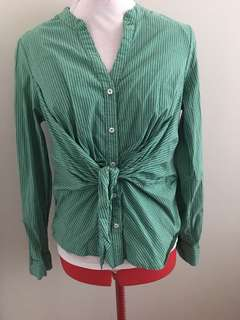 Anthropologie Maeve striped tie blouse size 8 medium green