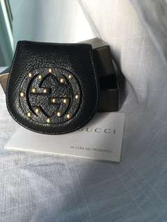 Authentic Gucci coin purse with box authentic new studded black