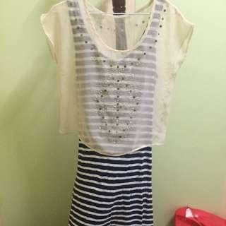 韓系長裙+日系雪紡罩衫