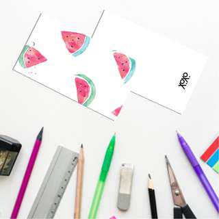Watermelon painiting rectangle gift tag mini card