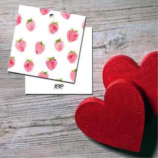 Strawberry Red Cute Fruit Design Mini Card Hand Tag