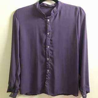 Chiffon long sleeves stand collar blouse