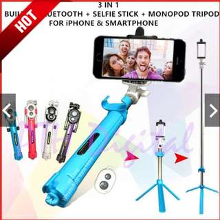 🔥Hot Sale🔥3 in 1 Built in Bluetooth Selfie Stick Monopod and Tripod for Smartphone and Camera