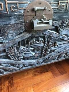 Antique vintage treasure chest 1910s dragon craved premium wood teak chest