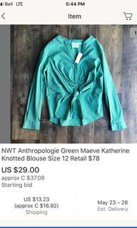 Anthropologie green tie shirt blouse medium