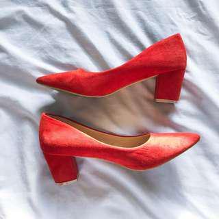 Parisian rust suede heels
