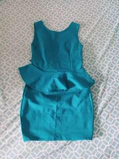 Teal Peplum Dress