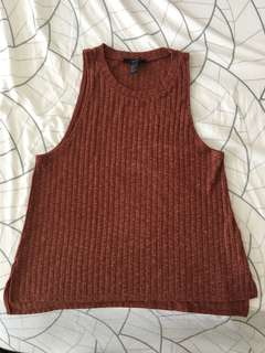 Forever21 Ribbed Halter Top - Brick Red