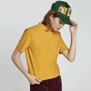 ZARA Mustard Yellow Knitted High Neck Top Small Zara Shirt Zara Knit Shirt