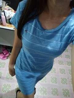 Blue stripes tshirt dress