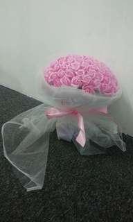 99 stalks pink soap flowers