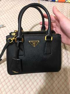 絕版 Prada Saffiano Galleria Mini Bag 18cm Black