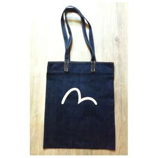 (半價) EVISU Denim Jean Tote Yoga Gym Shopping Bag 牛仔布袋 實用袋 購物袋 (Half Price)