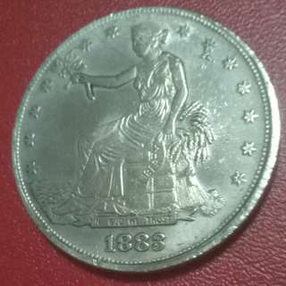 USA Seated Liberty 1883CC Trade Silver Coin 38mm 26.1gm