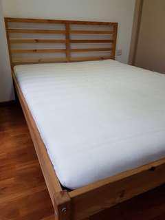 "IKEA TARVA bed frame with MALVIK mattress - 78"" x 58"""
