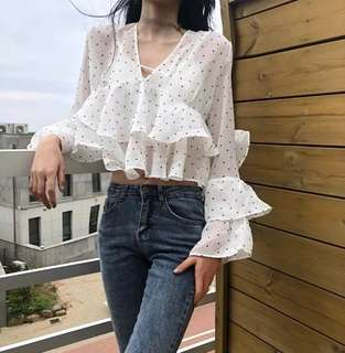 Korean V Polka Ruffle Top