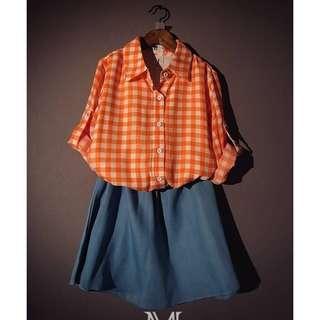 (全新)韓版一件式橘紅色方塊格子拼接撞色天藍色牛仔裙子/五分袖長版洋裝裙子/連身縮腰裙/連身裙/連身洋裝