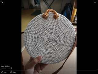 Rattan bag Plain Round white