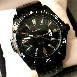 CURREN黑鋼日曆型格鋼帶手錶 Original Brand New CURREN Black Steel Calendars Steel Watch