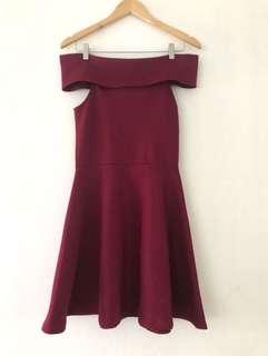 Off-Shoulder Maroon Dress