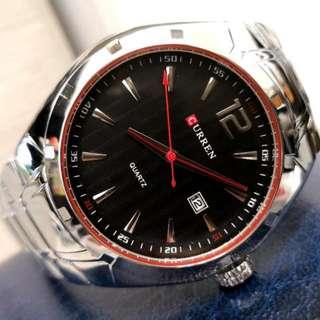 CURREN銀鋼型格日曆鋼帶手錶 Original Brand New CURREN Silver Steel Calendar Stainless Steel Watch