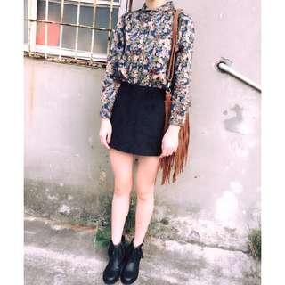 (全新)韓版墨綠色花花立領長袖厚雪紡襯衫上衣/鬆緊雙口袋黑色褲裙短褲A字裙短裙窄裙(一套式)---此區上衣賣場