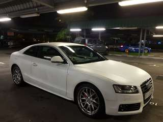 Cheap Steal Promo Audi A5 S-Line Body Kit Custom Matt Pearl White Tastefully Done Up Twin Exhaust For Lease / Rent