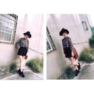 (全新)韓版墨綠色花花立領長袖厚雪紡襯衫上衣/鬆緊雙口袋黑色褲裙短褲A字裙短裙窄裙(一套式)---此區窄裙賣場
