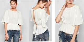 S.Oliver Tie Back Frill White Blouse