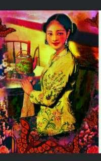 A3 size  Yellow nyonya  Series  Nyonya Ladies Peranakan baba nonya   峇峇娘惹  Poster Prints   By Local Original