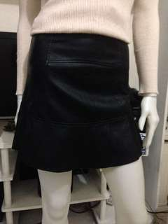 Black synthetic soft leather skirt