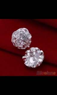 Silver Plated Jewelry Rose Flower Studs Earrings