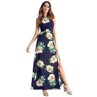 Floral Maxi Dress w/ Slit