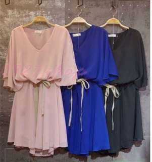 🚚 飄逸款💃 素色雪紡小洋裝(附腰帶) NT410