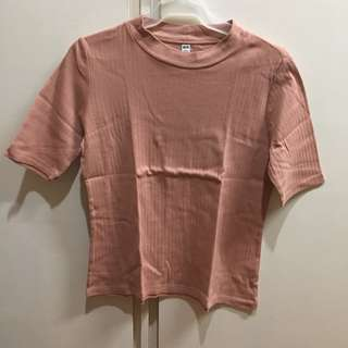 Uniqlo Light Pink Ribbed Top