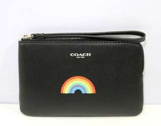 Coach Corner Zip Leather Rainbow Glitz Multi Wristlet-BLACK
