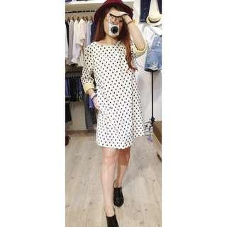 (全新)韓版可愛棉質撞色黑圓點點白色短袖五分袖長版洋裝裙子連身裙連身洋裝
