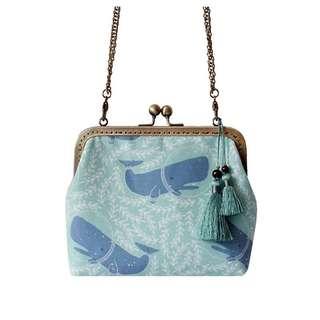 [OH_JUMP] 手作鯨魚包包小方包女手機包斜背練鏈條口金包