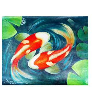 Two Koi Fishes Oil Painting