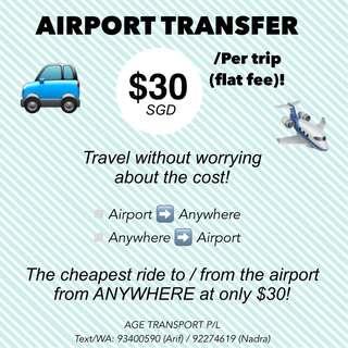 Airport transfer ($30/trip)