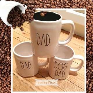 "Rae Dunn Fathers Day ""DAD""MUGS($20 each) **VERY RARE and hard to find...2 were found in the US * Dog Dad Dad mug black interior Dad mug white interior   $18 EACH mug"
