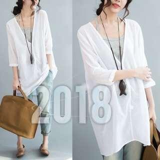 棉麻背心兩件式寬鬆襯衫-白色現貨 005021
