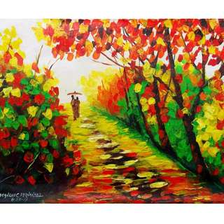 """Walk by the Road"" Acrylic Painting"