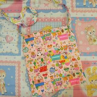 日本手作昭和復古小動物布袋tote bag handmade遊樂場