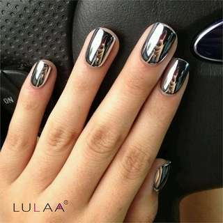 LULAA 6ml Long Lasting Base Top Coat Nail Gel & Peel Off Glue Nail Polish Silver Glitter Mirror Nail Polish Gel Nail Art Tools